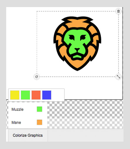Magento Designer Tool with colorized graphics